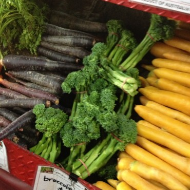 Victoria Market-purple and yellow carrots!