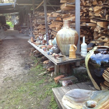 Woodfired Pots by Rob Barron-Gooseneck Pottery-Kiln in background