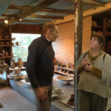 Rob Barron speaking with Sadhana-so generous with his knowledge on wood firing!