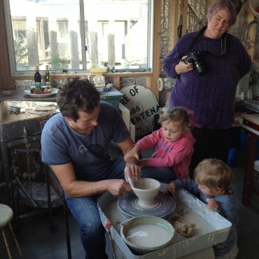Zak Chalmers- Valley Plains Pottery-throwing with his children