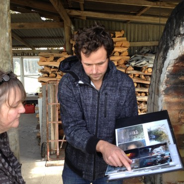 Sadhana and Zak Chalmers- Valley Plains Pottery-discussing his kiln