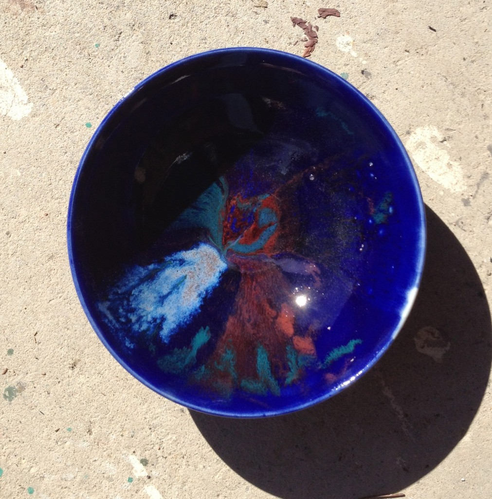 Cobalt Blue with Iris, Red, and Teal accents-High Fire Cone 10 Reduction
