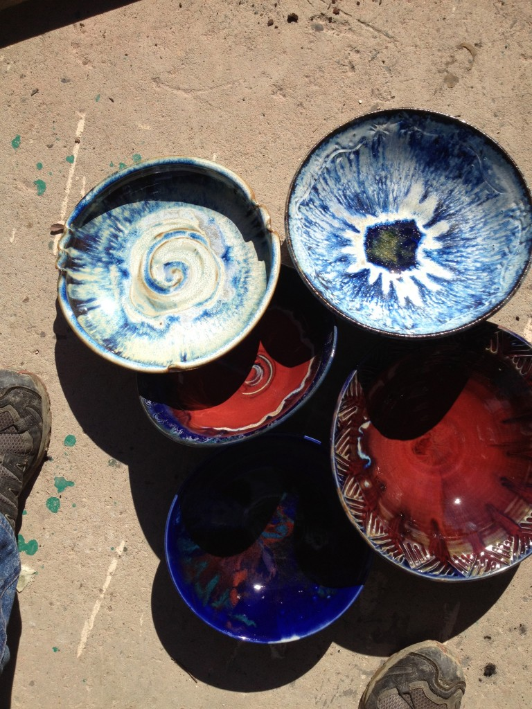White with sprayed Iris, Cobalt blue and copper red glazes-High Fire Cone 10 Reduction