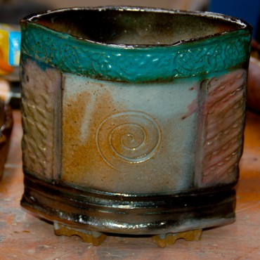Handbuilt Container-Sprayed glazes-shino, teal, and black