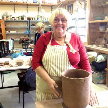 Robyn Roylance working on her large pot.