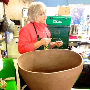 Anne Mossman working on her large vessel.
