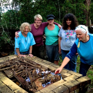 Ready to light the pit fire!!! (L-R) Shirley Featherstone, Ronda Luland, Claire Byren, Lorraine Emmanuel, Ann Lee.