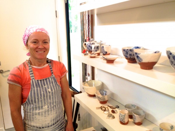 Brooke Clunie, potter, in her studio, Red Door Studio.