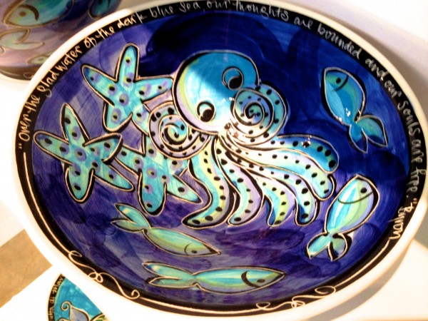 Beautifully decorated Octopus bowl.