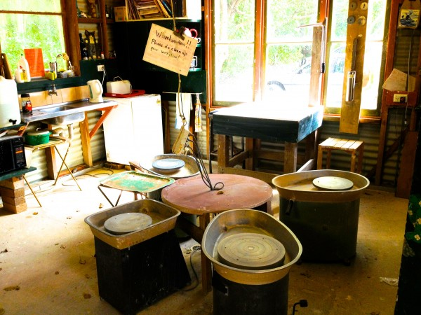 Mullumbimby Potters Association studios-lots of wheels and work areas!