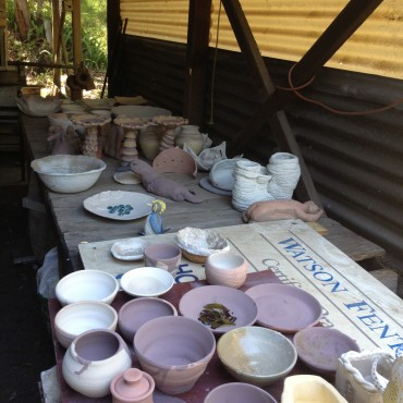 Pots ready to be loaded.