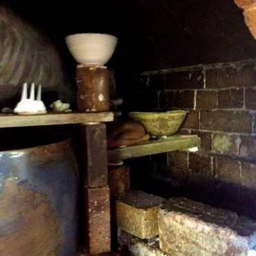 Inside the kiln before unloading.