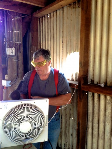 Ronnie working on my new spray booth exhaust fan.