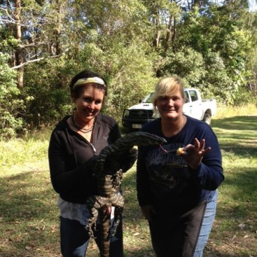 Julie and Marian with the goanna.