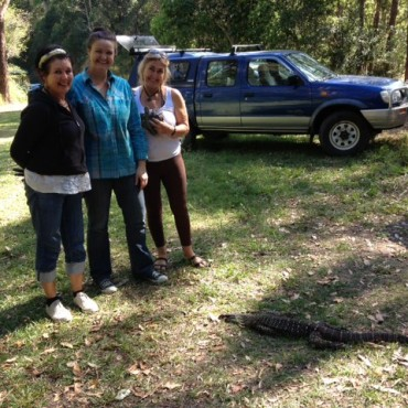 Julie, Emma, and Carole with the goanna.