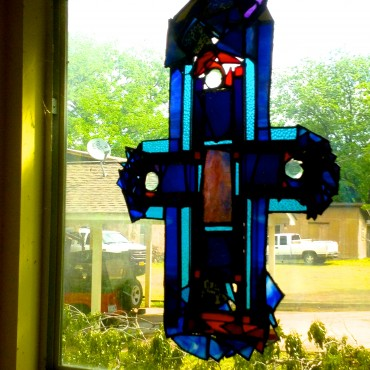 My stained glass, given to me by my lovely daughter, Liz!