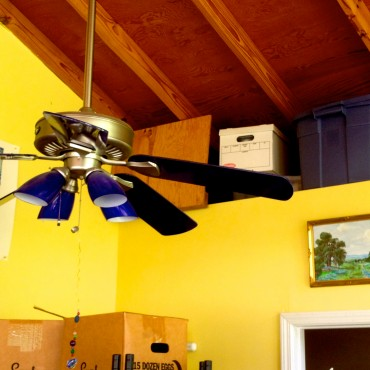 lovely blue ceiling fans!