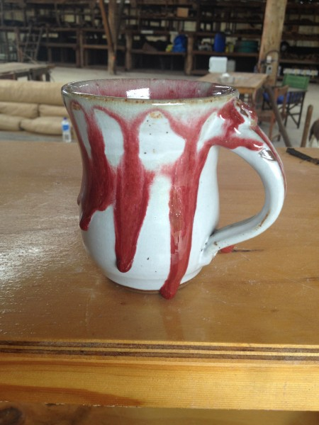 The red glaze just ran off the white base glaze!  But I did get reds!