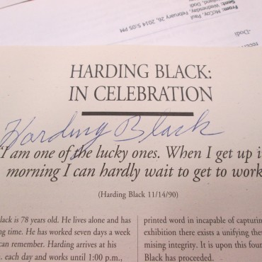 Harding Black autograph on an article in Ceramics Monthly.