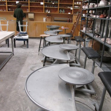 Wheels in Pottery Studio at Baylor University.