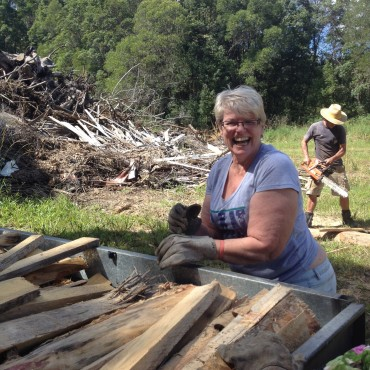 Ronda Luland having fun gathering wood!
