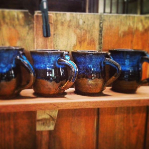 Mugs On a Recycled Timber Shelf