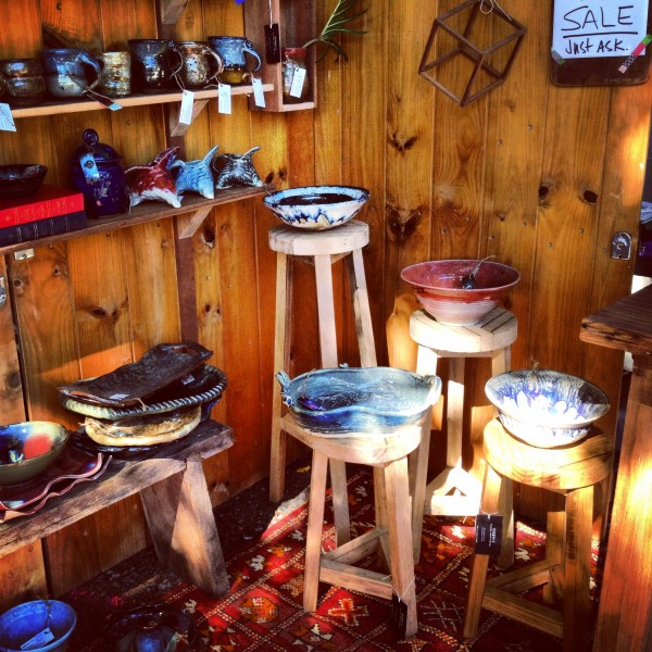 recycled timber stools and pottery