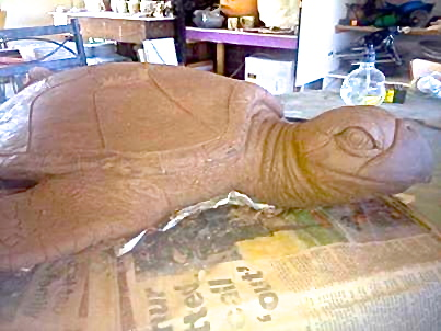Hawksbill Turtle Sculpture in Progress by Lyndall Bensley