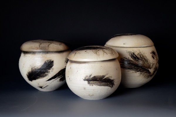feather raku, spirit vessels, raku