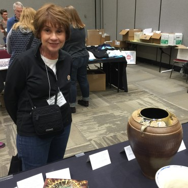 Judith Wagenseller at the K-12 exhibit.