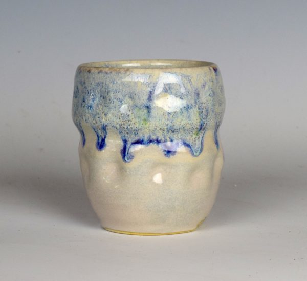 cobalt cascade tumblers, cone 10 reduction fired, gas firing, tumblers, cobalt glaze, drippy glaze